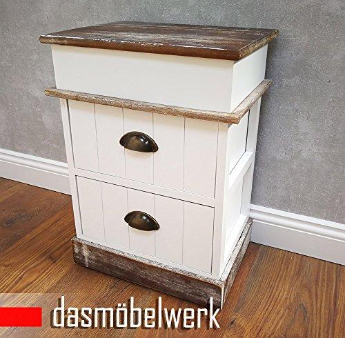 dasmöbelwerk kleine Mini Kommode Nacht Schrank Schubladen antik weiß Shabby Chic Landhaus Nachttisch 2719