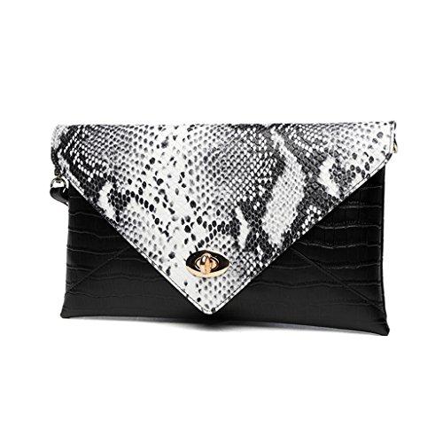 TaoMi Homw- Handtaschen-Frauen-Handbeutel-kleiner Paket-Umschlag-Paket Großer weiblicher Beutel-Kurier-Beutel / mit Schultergurt Black White