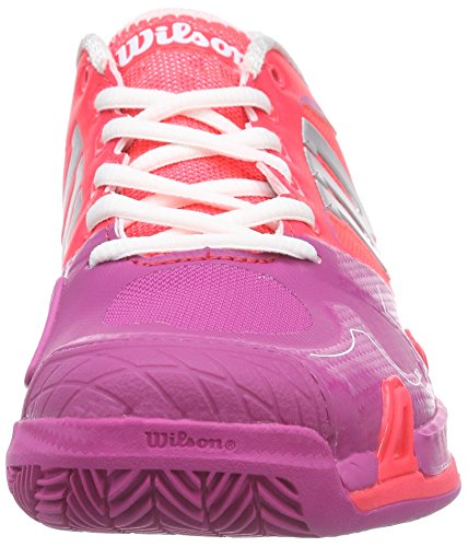 Wilson  RUSH PRO 2.0 Clay Court W NEON RED W/F 4, Chaussures de Tennis femme Multicolore - Mehrfarbig (NEON RED WHITE)