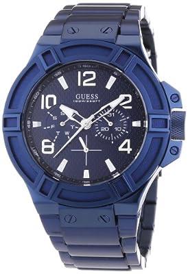 Guess W0041G2 - Reloj de cuarzo para hombre, con correa de acero inoxidable, color azul