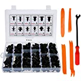E-Senior - Juego de pinzas de montaje para puerta, 240 unidades, universales, nailon negro, remaches de plástico, con panel interior para quitar la prenda y herramienta de extracción