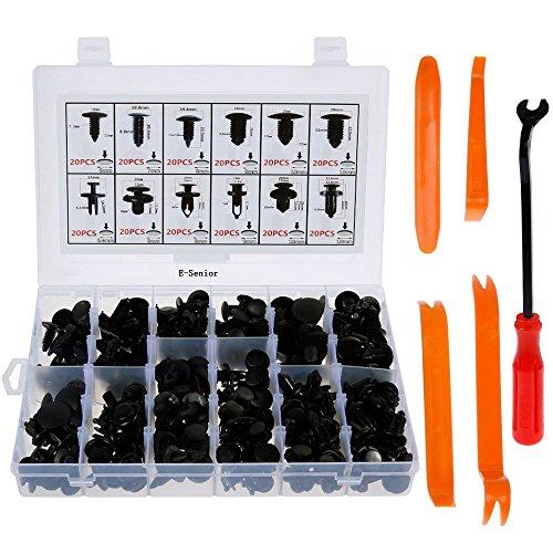 E-Senior 240 Stück Montageclipse Tür Trim Clips Bumper Set/Universal Auto schwarz Nylon Clips Kunststoff Stift --- mit Innen Trim Panel entfernen Pry Tool und Ausdrehwerkzeug (Clip-tool Zum Entfernen)