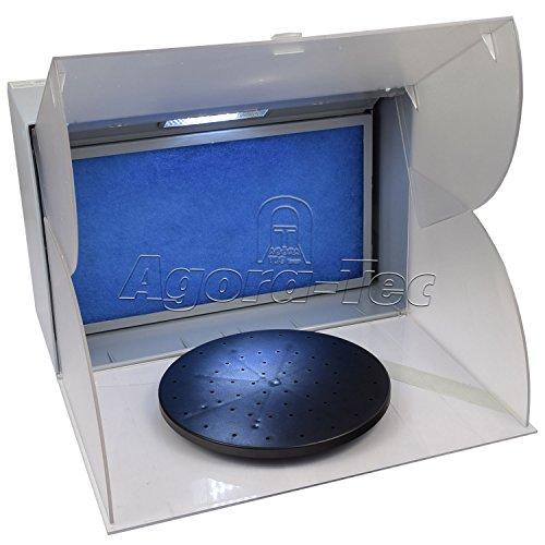 Agora-Tec® Airbrush Spritzkabine Absauganlage AT-ASK-01 mit 4,3m³ Absaugleistung bei nur 52db inkl. Beleuchtung und Drehteller als Zubehör und Lackierkabine für Airbrush Modellbau und Lackierarbeiten