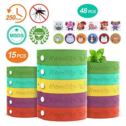 Homtiky braccialetto antizanzare, 15 pezzi bracciale repellente con 48 adesivi repellenti per zanzare estratto vegetale naturale al 100%, bracciale antizanzare per insetti per bambini e adulti