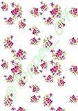 SHABBY CHIC, Vintage-Blumenmuster, pink & A4, Weiß, für Fondant-Glasur, essbar, Kuchendekoration, Topped Off (Kreditkartenformat)