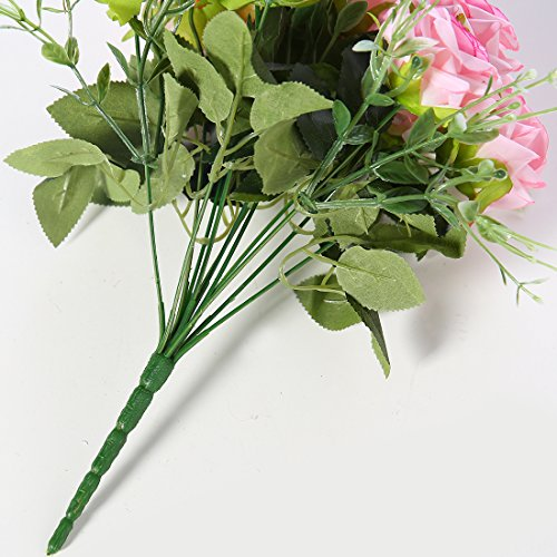 Rose artificiali di seta, sensazione reale al tocco, 12 fiori Pink - 5