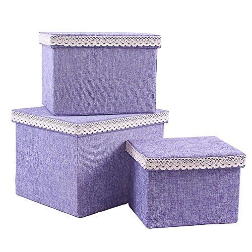 Caja rectangular tela glicinas con passamaneria Juego 3unidades cm 32x 27h23la piu 'grande