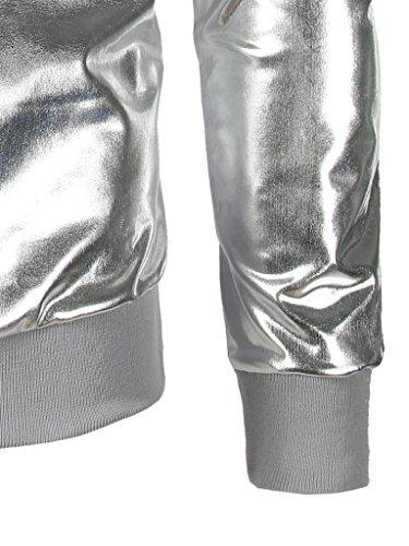 Kaiki Männer Slim Fit O Hals Langarm Muskel T-Shirt glänzend T-Shirt Casual Tops Bluse Silver