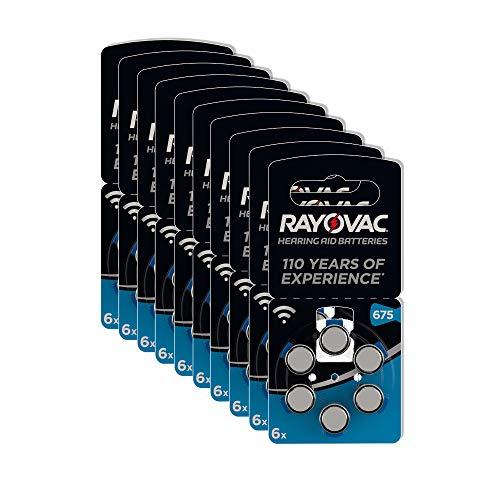 Rayovac Acoustic Zink Luft Hörgerätebatterie in der Größe (mit 60 Batterien geeignet für Hörgeräte Hörhilfen Hörverstärker) blau, 675 Pack