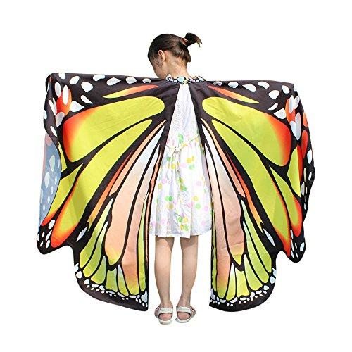 ires Kinder Schmetterlingsflügel Jungen und Mädchen Kostümzubehör Weihnachten Trenchcoat Im Freien Drachen Fliegen Mantel Schal Damen Poncho Karneval heißen ()