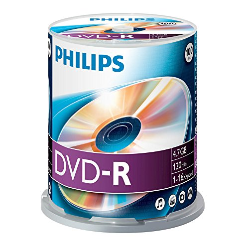 Dvd-r vergini philips dm4s6b00f 4,7gb, 120min. in campana da 100 pezzi
