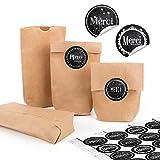 24 kleine braune Papiertüten natur Kraftpapier 9 x 15 x 3,5 cm + 24 runde Aufkleber schwarz weiß MERCI DANKE französisch Tafelkreide Verpackung Mini-Tüte Geschenk