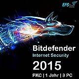Bitdefender Internet Security 2016 3 PC 1 Jahr |OEM|PKC|EFS