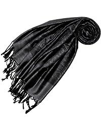 LORENZO CANA Designer Pashmina Schal Schaltuch jacquard gewebt Paisley Muster 70 x 180 Tuch Naturfaser weich wie Kaschmir Anthrazit Schwarz Grau 93288