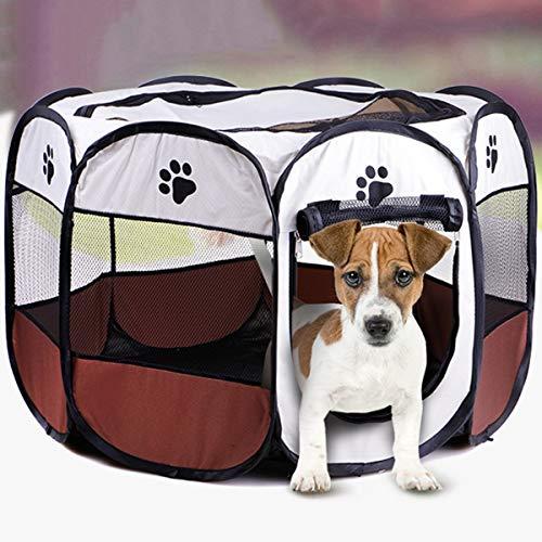 Pieghevole lavabile Tenda per animali domestici Casa per cani Cucciolo di gatto Gabbia Recinto ottagonale Forniture da esterno per la casa (Color : Coffee)