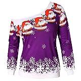 IZHH Damen Weihnachtshemd Mode Weihnachten Druck Langarm Trägerlose Schulter Weißes Sweatshirt Schulhemd Party Tops Outdoor Pullover Tägliche Bluse(Lila,XX-Large)