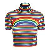 malianna Frauen Regenbogen Print Rollkragen Kurzarm gestreiften High Street T-Shirt Crop Tops (L)