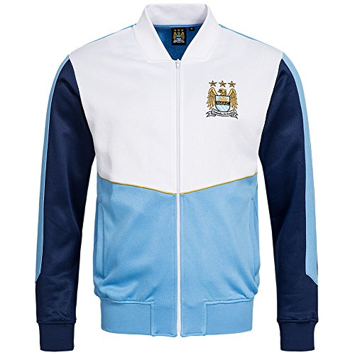 Manchester City FC Majestic Retro Track Top giacca, Uomo, tricot, bianco, M