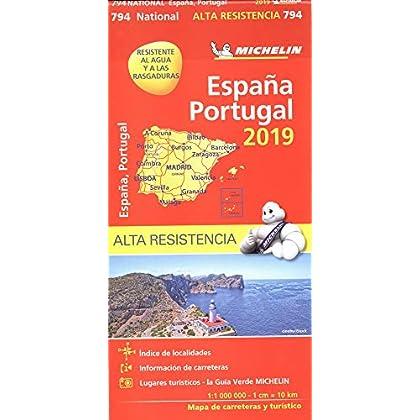 Carte Portugal, Espagne Indéchirable Michelin 2019