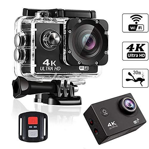 DZSM Action Camera 4K / 30fps Telecamera Subacquea Wi-Fi HD con 170 Gradi Ampia, Zoom 4X e Anti-Funzione 4 Professionale