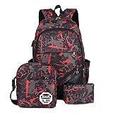 ACMEDE Schulrucksack 3 Teiliges Schultasche-Set Top-Model Studentrucksack mit USB Anschluss INKL Schultertasche + Geldbeute + Mäppchen