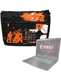 DURAGADGET Bolso Negro con Print En Color Naranja para Portátil MSI GE63  Raider 8RE-020ES bfef116c74f