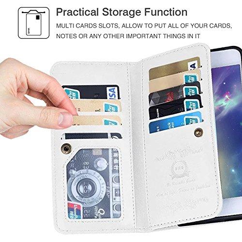 Custodia a portafoglio con porta carte di credito, blu, For iPhone 6 Plus/6s Plus White