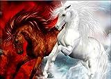 Nehome 5D-Diamantbild, Malen nach Zahlen mit Glitzersteinen, Motiv: springende Pferde, Kristallstrass-Stickerei, Kreuzstich, Kunsthandwerks-Zubehör, Leinwand, Wanddekoration