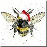 Bee Weihnachten–Luxus Weihnachten Karte–Aquarell von Sarah Boddy, einzelne Karte, Weiß