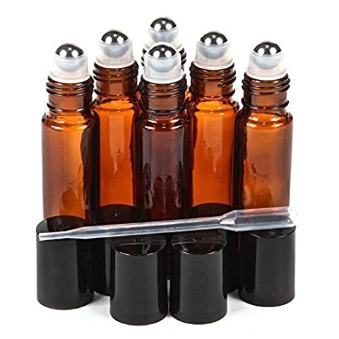 6pcs/Set - 10ml (1/3 Ounce) Empty Refillable Amber/ Brown Metal