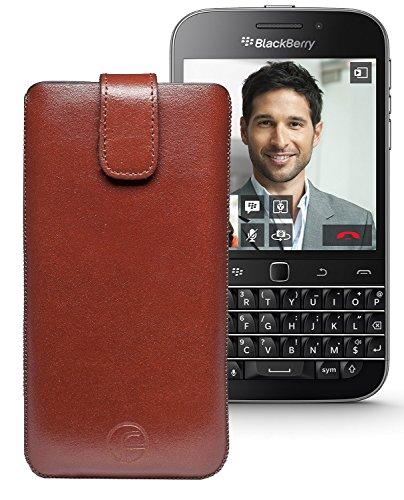 Original Favory Etui Tasche für / BlackBerry Classic / Leder Etui Handytasche Ledertasche Schutzhülle Case Hülle Lasche mit Rückzugfunktion* in braun