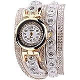 Rrimin Duoya Leather Bracelet Watch Rhinestone Quartz Bracelet Watch (White)