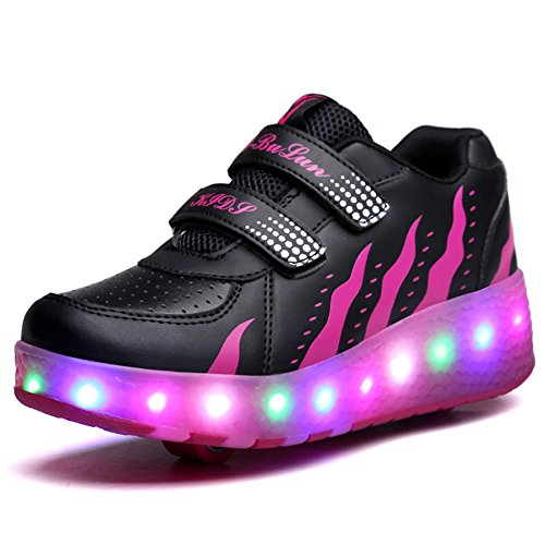 Unisex Kinder Roller LED Schuhe Leuchten Doppelräder Skateboard Turnschuhe Outdoor Sports Training Rollschuh Schuhe für Jungen Mädchen (33 EU, Schwarzes Rosa)