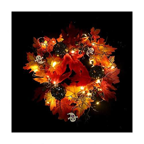 Halloween Kränze - Miarui Halloween Dekoration Kürbis Halloween-Kranz Requisiten