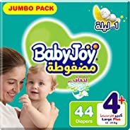 BabyJoy Compressed Diamond Pad, Size 4+, Large+, 12-21 kg, Jumbo Pack, 44 Diapers