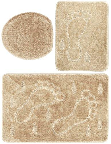 3 teiliges Badgarnitur Set Füße Muster ohne Ausschnitt - Badteppich 85x55 Badematte - Beige