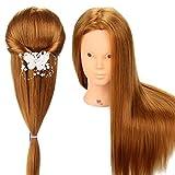 Neverland, testa di manichino per l'allenamento dei parrucchieri in erba, modello professionale da 56 cm, capelli reali al 65% con morsetto di fissaggio