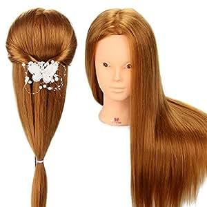 Neverland 60% Vrais Cheveux Long coiffure Artificiel Têtes d'exercice Coiffure Mannequin #27