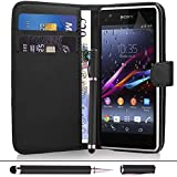 Sony Xperia Z1 Compact - Premium Leather Wallet Flip Case Cover Pouch + Screen Protector With Microfibre Polishing Cloth + Touch Screen Stylus Pen By CCUK