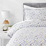 AmazonBasics Microfiber 2-Piece Quilt/Duvet/Comforter Cover Set - Single, Blue Floral