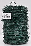 Stacheldraht verzinkt und grün beschichtet 100 Meter Sperrdraht