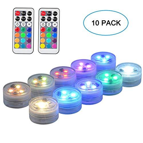 RGB Unterwasser LED Licht Multi Farbwechsel Flammenlose LED Runde CR2450 Batteriebetriebene Super Helle Weiße Warmweiße LED mit Fernbedienung 3,8 cm -