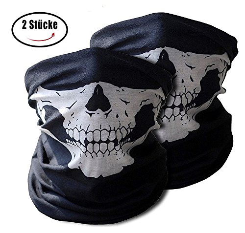 Auskio Motorbike Balaclavas Mask 2 Pieces | Windproof Skull Face Mask for Motorcycle, Ski, Cycling, Snowboard, Costume | Soft Material No Chemicals and Smell Neck Tube for Kids and Adult
