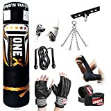Onex 9 Pieces Heavy Filled Boxing Set 5FT Punch Bag Gloves Ceiling Hook