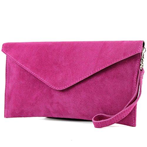 modamoda de - ital. Ledertasche Clutch Unterarmtasche Abendtasche Citytasche Wildleder T106 , Präzise Farbe:Pink