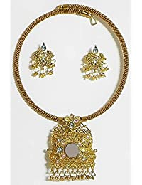 DollsofIndia Oxidised Metal Spring Necklace With Earrings - Metal (FY38-mod) - Golden