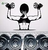 Decalcomania da muro Decorazione da parete staccabile in vinile Gym Muscle Girl...