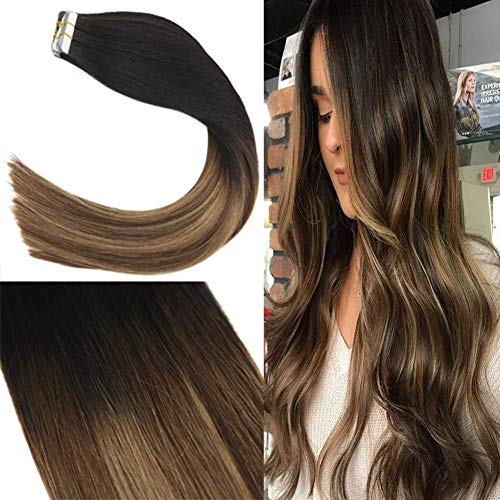 Sunny 18pollice/45cm tape in remy capelli nero naturale a marrone e biondo #1b/4/27 umani extension platino biadesivo capelli veri 20pcs