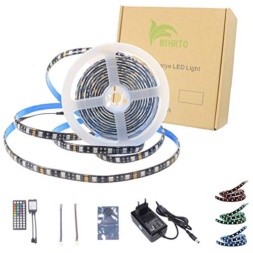 BIHRTC 5050 SMD 5M 16.4ft RGB 300 LED Streifen Set Kit Strip Licht Lichtband Lichtstreifen Wasserdicht IP65 Flexibles in Schwarz PCB mit 44 Tasten Fernbedienung + EU Plug DC 12V Netzteil 5 Taste Set