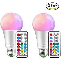 [Sponsorizzato]iLC Lampadine Colorate 10W Led Dimmerabile Cambiare colore Lampadina Edison RGB E27 RGBW LED Lampadine Led a Colori [2017 Seconda Generazione]- 12 scelte di colore - Telecomando Incluso (Confezione da 2)